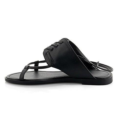AalarDom Mujeres Material Suave Puntera Abierta Plano Cordones Sólido Sandalia Negro