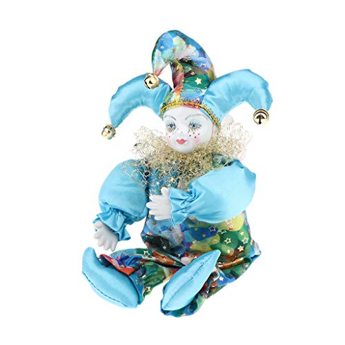 (SM SunniMix 33cm Porcelain Hanging Foot Clown Doll Harlequin Doll, Home Office Desk Shelf Display Ornaments, A)