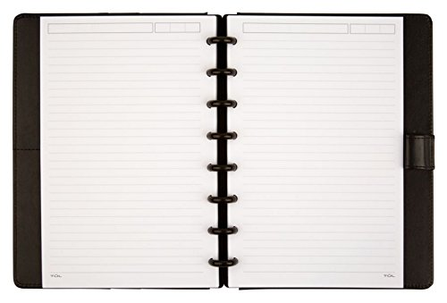 TUL Custom Note-Taking System Discbound Notebook, Junior Size, Leather Cover, Black