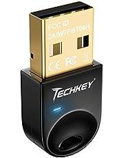 Bluetooth Adapter Techkey Bluetooth 4.0 Dongle for PC Laptop Desktop Headset Keyboard Mouse Support Windows 10 8.1 8 7 XP Vista