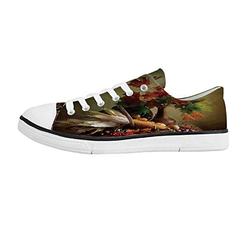 Harvest Comfortable Low Top Canvas ShoesPhotograph from Death of The Nature Season Fall Vegetables and Leafs Wooden Table for Men Boys