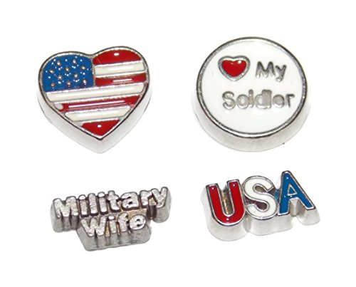 Military Soldier 4th of July Theme Floating Locket Charm 4 Pack – Flag Heart, Military Wife, USA, Love my (Flag Charm Earrings)