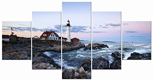 Wieco Art Large Canvas Prints Wall Art Portland Lighthouse Landscape Pictures to Photo Paintings for Kitchen Bathroom Home Decoration Wall Decor 5 Panels Modern Gallery Wrapped Seascape Giclee Artwork