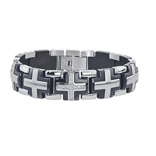 (AX Jewelry Mens Solid Cross Diamond Bracelet in Stainless Steel (0.20 carats. H-I I3))