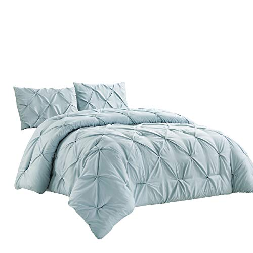 WPM 2 Piece Microfiber Comforter Set Pinch Pleat Pintuck Down Alternative Bedding – All Season Blue Bedroom Decor- JN1…