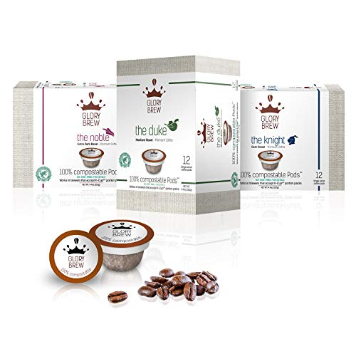 (GLORYBREW – Variety Pack - 36 count 100% Compostable Coffee Pods for Keurig K-Cup Brewers - Rainforest Alliance certified – Medium, Dark and Extra Dark Roast | Better than Biodegradable Coffee Pods)