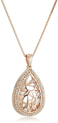18K Rose Gold over Sterling Silver Rose Quartz, and Created White Sapphire Pendant Necklace, 18