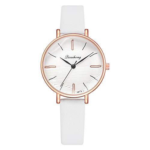Fashion Ladies Quartz Convex Glass Leather Watches Clock Wristwatch,Outsta Bracelet Watch for Women Girls Gift Present (White) (White Ladies Watch Bracelet)