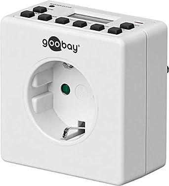 Goobay Digitale Wochenzeitschaltuhr Zeitschaltuhr prä zise Steuerung von elektronischen Gerä ten mit unauffä lligem Design, 1 Stü ck, weiß , 93256