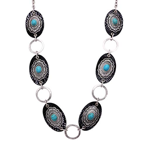 Rosemarie Collections Women's Southwest Style Turquoise Concho with Faux Leather Necklace …