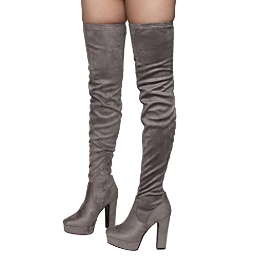 Besonon EJ20 Frauen Seitlicher Reißverschluss Chunky Heel Stretchy Snug Fit Oberschenkel Hohe Stiefel Graues Wildleder
