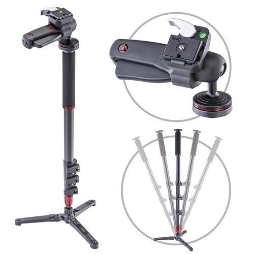 3Pod Orbit 4-Section Carbon Fiber Handheld Monopod Stick for DSLR Photo & Video,Sports Cameras, Fluid Base and Pistol Grip Ballhead, Tripod Legs with Bag. 65'' by 3Pod