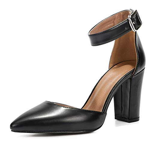 - Women's Elegant D'Orsay Ankle Strap Pointed Toe Pumps Block Chunky High Heel Shoes Black Matte PU-46(280/US12)