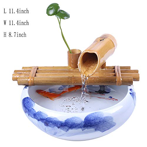 Statues Ceramic Tabletop Fountain,Fengshui Indoor Decoration Water Fountain humidifier Tabletop Water Decoration Bamboo Fountain -Fuente de Bambu 11.4inch