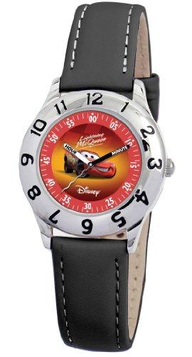 Disney Kids' D807S006 Lightning McQueen Time Teacher Black Leather Strap Watch