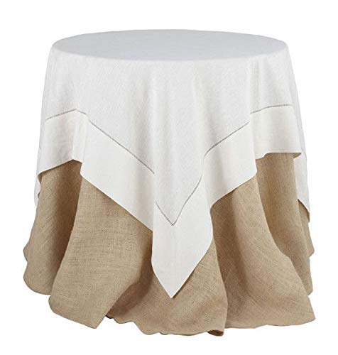 Fennco Styles Classic Solid Color Hemstitch Border Table Linen for Dining Table, Banquet, Wedding, Family Dinner, White, 40 x40 Inch Tablecloth