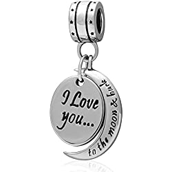 Ollia Jewelry 925 Sterling Silver Dangle Charm I Love You To the Moon and Back European Beads and Charms Valentine's Day Gifts Idea