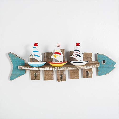 (HANXIAODONG Unique Decorative Wall Hook Fish-Shaped Shelf Marine Style Partition Rack Storage Rack Wall Hanging with Coat Hook (Color : B, Size : One Size))