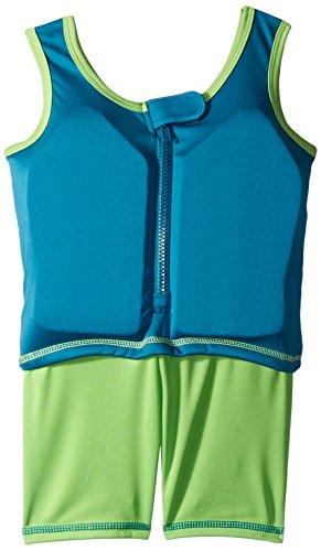 Aqua Leisure ET9137L Boys 1 pc Swim Trainer, Shark Print top, Solid Shorts, with Back Zipper-L - Tube Suit Inner