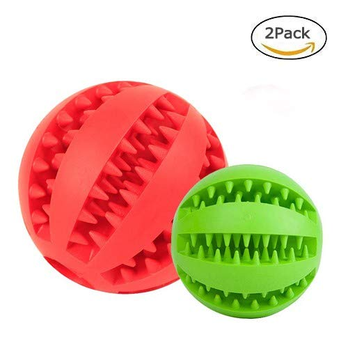 Red green A red green A Dog Toy Ball, Nontoxic Bite Resistant Toy Ball,Dog Chew Ball Toy Tooth Cleaning Dental Treat for Pet Dogs Puppy Cat, Dog Pet Food Treat Chewing Training Playing