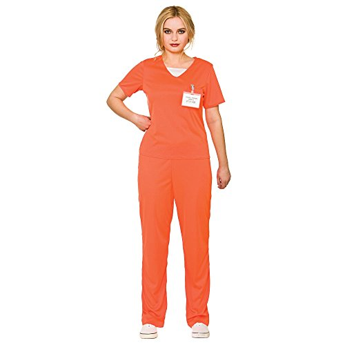 Convict Costume Uk (Orange Convict Women's Costume Prisoner Fancy Dress)