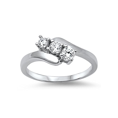 - .925 Sterling Silver Three-stone Tension Set Cubic Zirconia Ring - Size 6