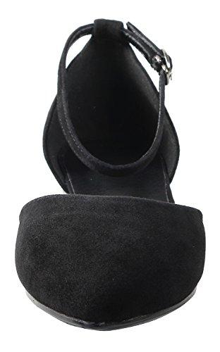 IRANDA Damen Pumps, Schwarz - Schwarze Velourslederoptik - Größe: 38