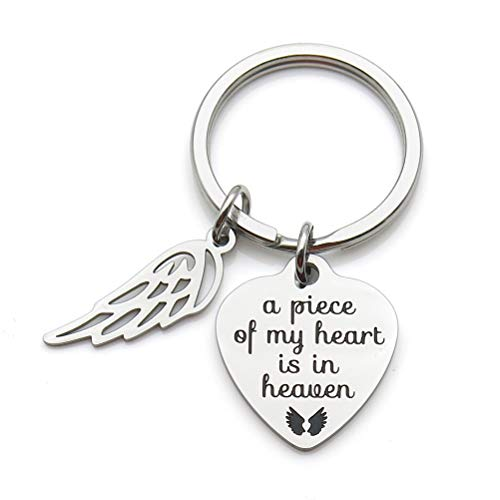 Memorial Jewelry A Piece of My Heart is in Heaven Keychain Angel Wing Stainless Steel Key Chain Memorial Gift