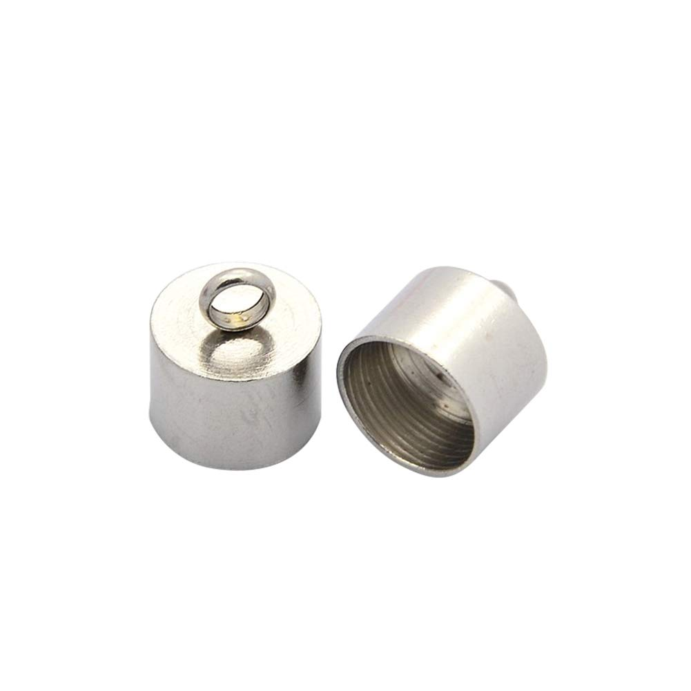 11mm Wide ARRICRAFT 10pcs Stainless Steel Barrel End Caps Cord Terminators for Leather Cord Jewelry Makig 13mm Long