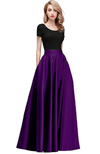 (Honey Qiao Women Maxi Skirts Satin High Waist Elegant Formal Evening Skirt Grape)