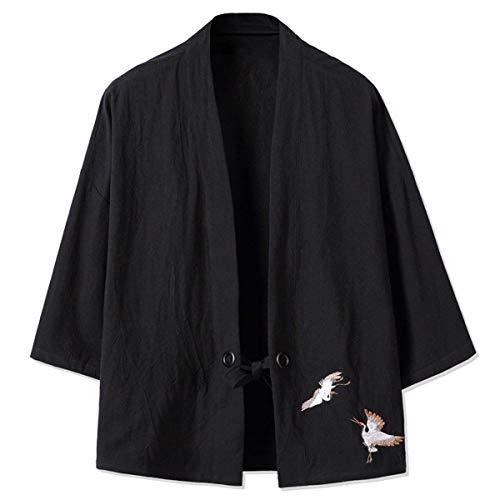 Lino Outwear V Uomo Lunga Ricamo Cotone Manica Schwarz Cappotto Da Casual Unita Tinta Moderna Locker Bavero Il Haori Kimono Del dUn1gZEn