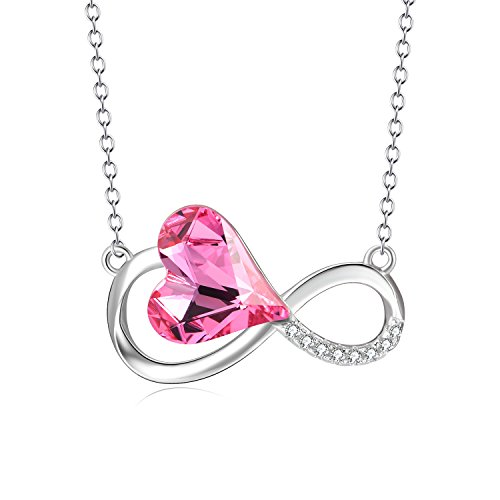 AOBOCO Infinity Necklace Sterling Silver Women Pendant Necklace Pink Love Heart with Swarovski Crystals Jewelry Birthday Gifts for Her (Crystal Swarovski Heart Solitaire)