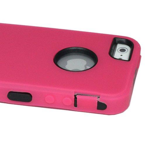 ASleek Hot Pink Silicone Skin / Black Hard Hybrid Armor Case Cover for Apple iPhone 5 + ASleek Microfiber Cloth