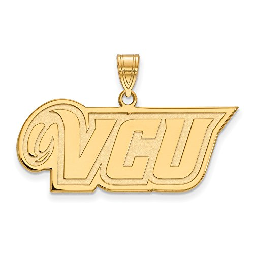 10k Yellow Gold Virginia Commonwealth Rams School Letters Logo Pendant M - (15 mm x 35 mm)