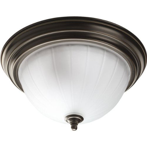 Progress Lighting P3817-20 2-Light Close-To-Ceiling with Etched Ribbed Glass, Antique Bronze