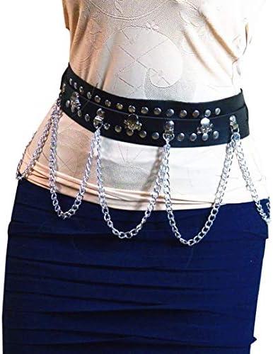 Homelex Womens Punk Leather Metal Chain Tassel Belt Adjustable Garter Harness