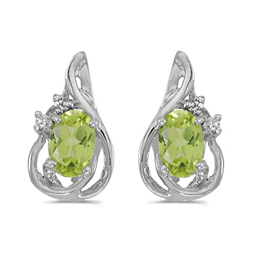 FB Jewels Solid 14k White Gold Studs Genuine Green Birthstone Oval Peridot And Diamond Teardrop Earrings (4/5 Cttw.) ()