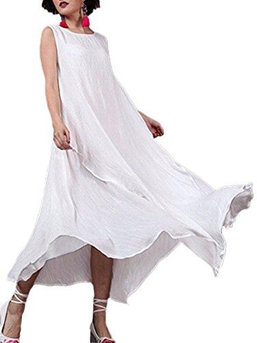 White Linen Tunic (Romacci Women Linen Vintage Maxi Sleeveless Loose Swing Tank Tunic Dress Long Beach Party Dresses)