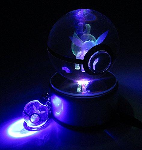 Beyond Pokemon Eevee 3D Crystal Glass Pokeball LED Light Cosplay Replica Ball Prop & Free LED Pokemon Keychain Charm ()
