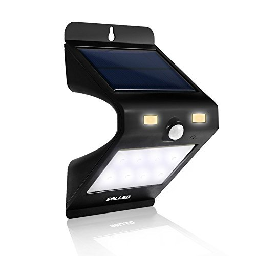SOLLED Solar Lights 12 LED Motion Sensor Light, Outdoor Solar Wall Light Wireless Waterproof Solar Security Lighting for Garden Patio Lawn Porch Deck Yard - Black