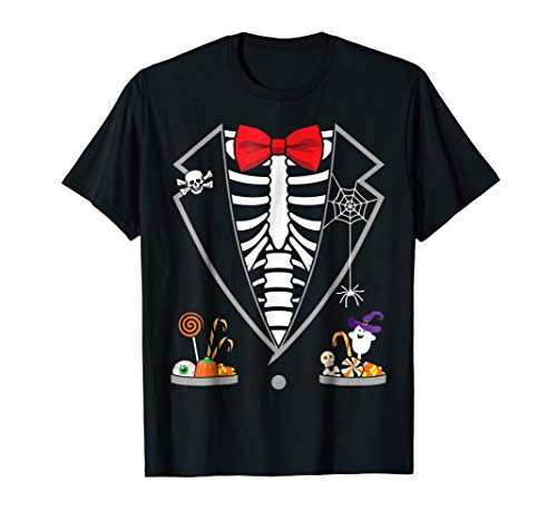 Halloween Costume Skeleton Tuxedo Candy Funny T-Shirt