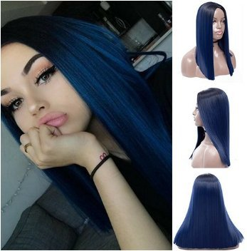 Royalvirgin Ombre Blue Wig with Dark Roots Long Straight None Lace Wigs for  Women Middle- 18821004f7