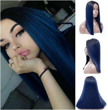 Royalvirgin Ombre Peluca azul con raíces oscuras largas rectas sin encaje pelucas para mujer pelo sintético