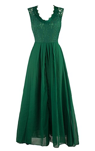 Formal V Maxi Green Bridesmaid LECHEERS Evening Neck Women's Dress Vintage Wedding xE8pw