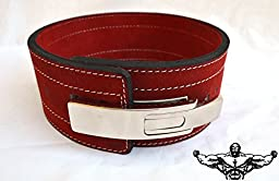 Quest Powerlifting Belt with Lever Buckle (Red) - 10mm Weightlifting Crossfit Strongman (29 - 37 Inch Waist (Medium))