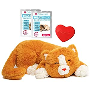 Calmeroos Kitty Heartbeat Toy Sleep Aid with 2 Long-Lasting Heat Packs Last 36 Hours Each Kitten Puppy Anxiety Relief…