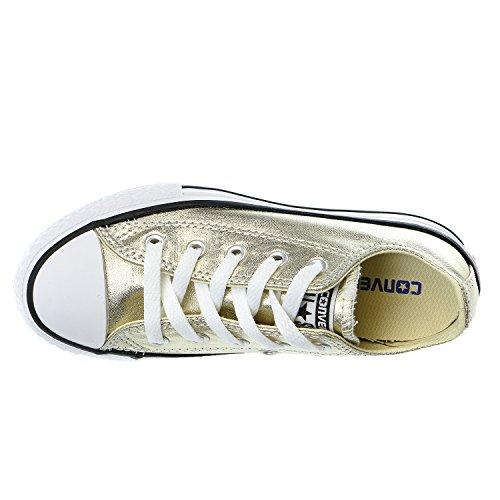 Converse Barn Kastar Taylor All Stjärna Säsongs Oxe Mode Sneaker Sko - Ljus Guld / Vit / Svart - 12,5