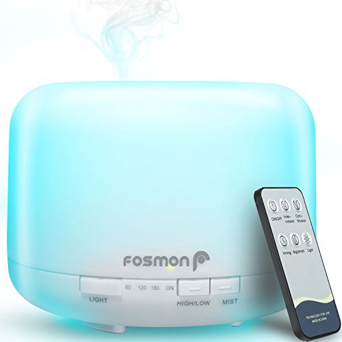Fosmon Essential Oil Diffuser Humidifier, Ultrasonic 500mL/16.9oz Large Essential Oil Aroma Diffuser Cool-Mist Humidifier with 7 LED Color Nightlight Options and 4 Timer Settings with Remote Control