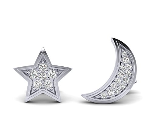 Fehu Jewel 0.15cts Natural Diamond Star And Moon Gold Over Sterling silver Earring (white-gold-plated-silver)