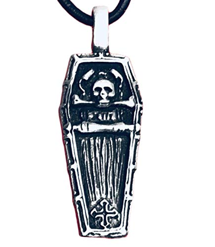 (Pewter Coffin with Skull and Iron Cross Pendant on Leather)